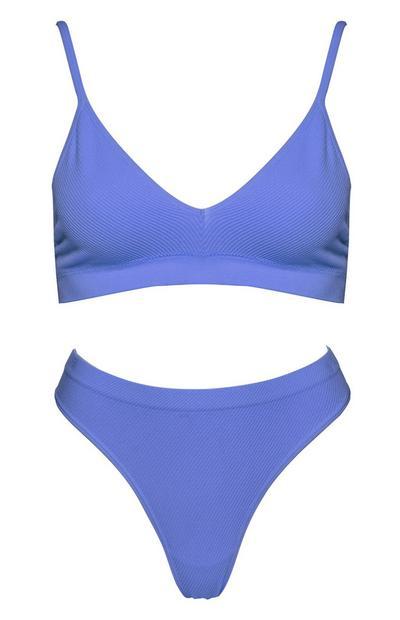 Bikini de braguita alta sin costuras morado, 2 piezas