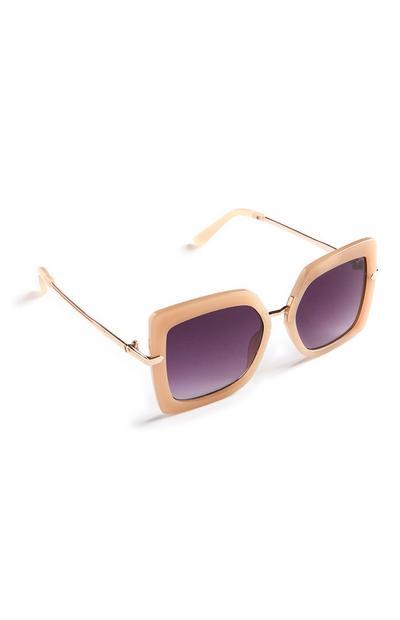 Cremefarbene Oversized-Sonnenbrille