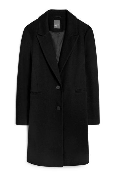 Abrigo negro de doble botonadura