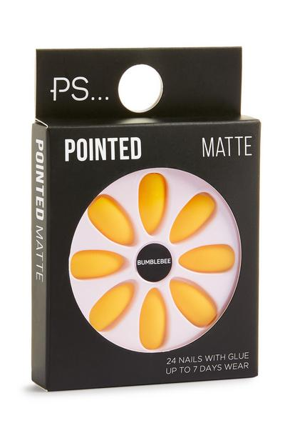 Faux ongles pointus jaune mat