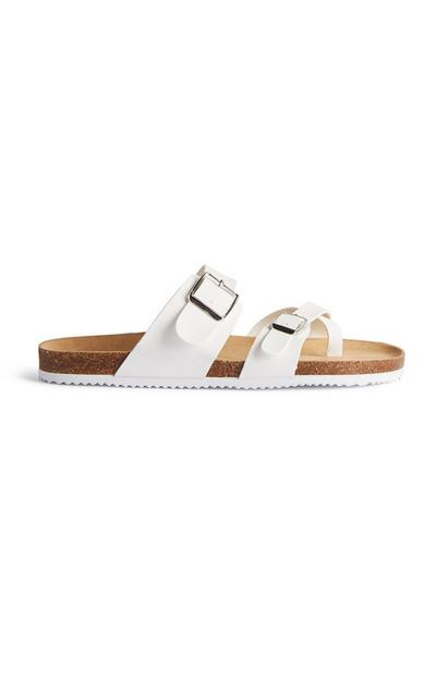 White Strappy Buckle Toe Loop Sandals