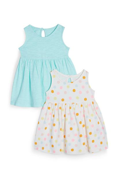 2-Pack Baby Girl Blue And White Polka Dot Jersey Dresses