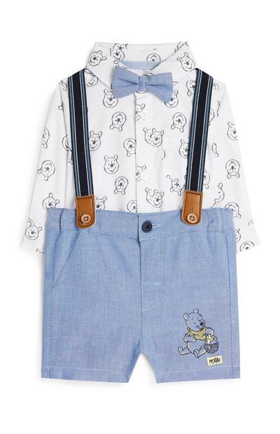 Conjunto 4 peças formal suspensórios Winnie The Pooh menino bebé