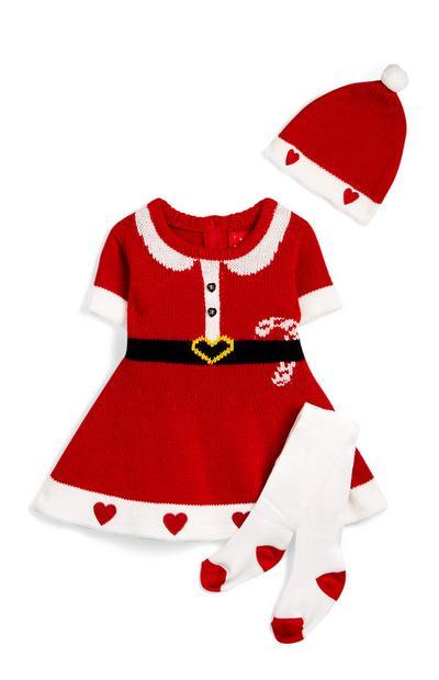 Robe pull Minnie Mouse rouge en maille bébé fille