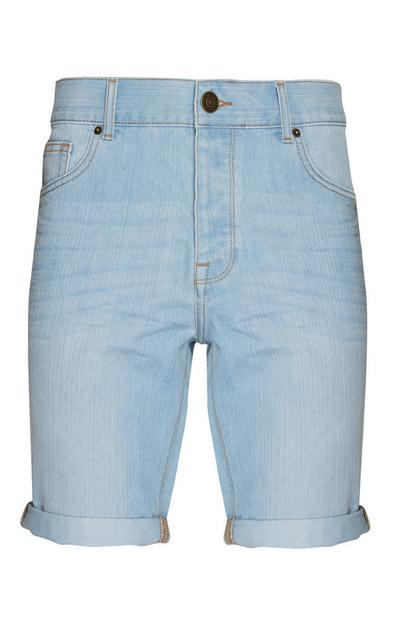 Light Blue Denim Roll Up Shorts