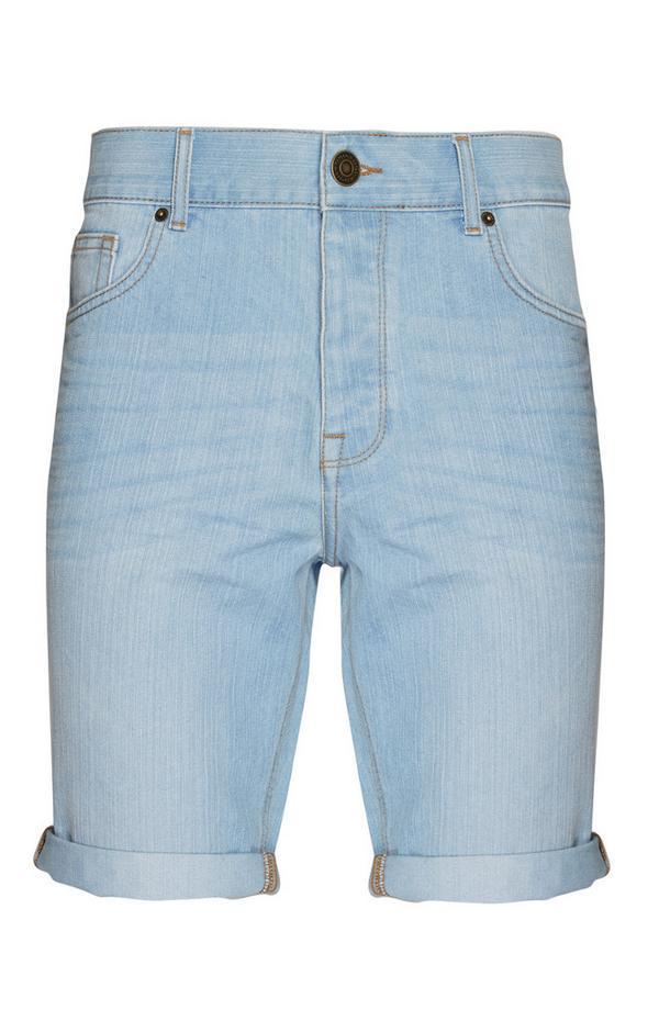 Svetlo modre kratke hlače iz džinsa z zavihki