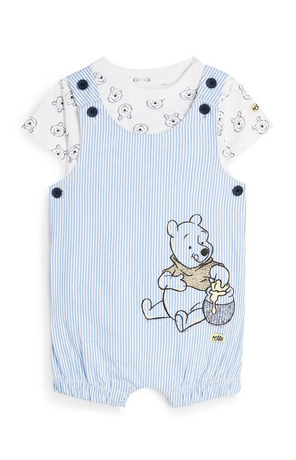 Baby Boy Blue Pinstripe Winnie The Pooh Romper Set