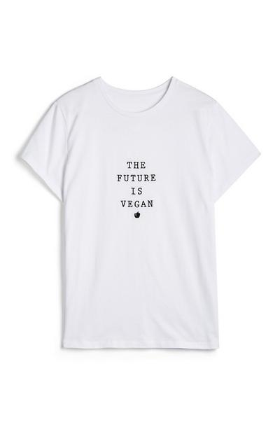 Bela majica z napisom The future is vegan