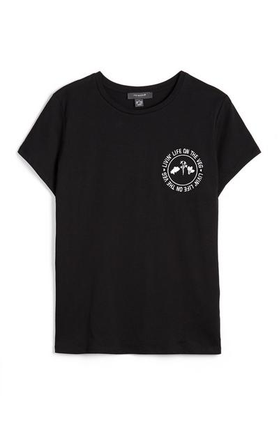 Livin Life On The Veg Black Slogan T-Shirt