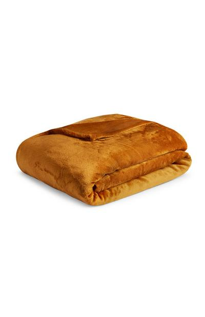 Extra Large Supersoft Plain Mustard Throw