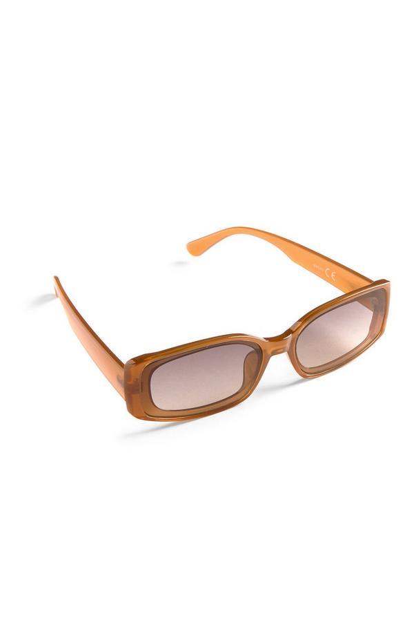Oranje smalle rechthoekige zonnebril