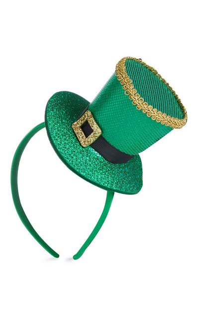 Green St Patricks Day Top Hat Slim Headband