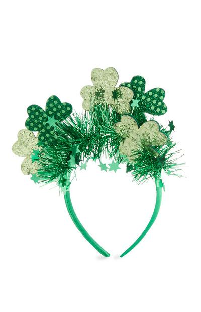 Green St Patricks Day Tinsel Slim Headband