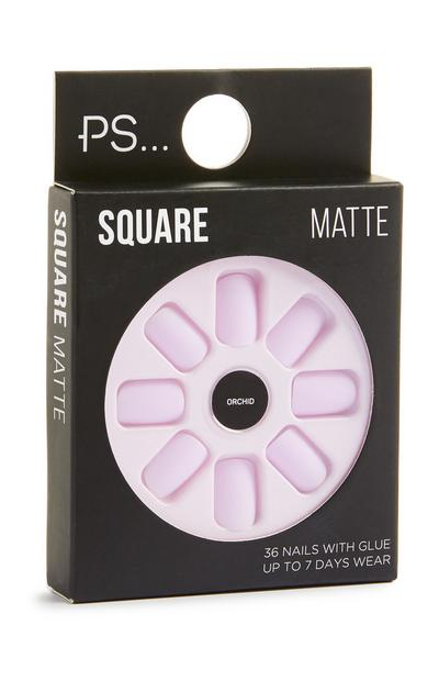 Square Matte Pink Stick On Nails