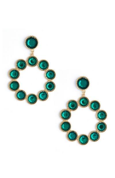 Runde Ohrhänger mit grünen Steinen