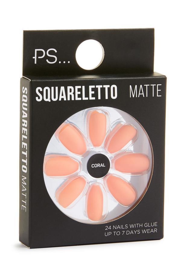 Uñas postizas «Squareletto» en color coral mate
