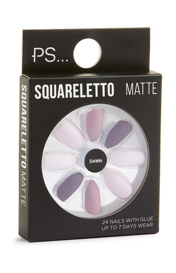 Squareletto Matte Mixed Purple Sitck On Nails
