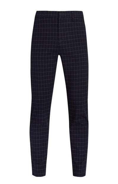 Pantaloni blu navy slim a quadri