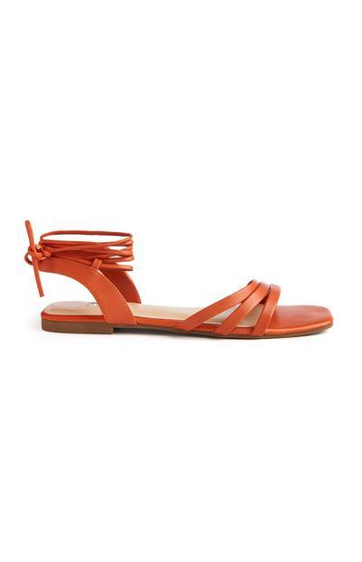 Orange Square Toe Ankle Tie Sandals