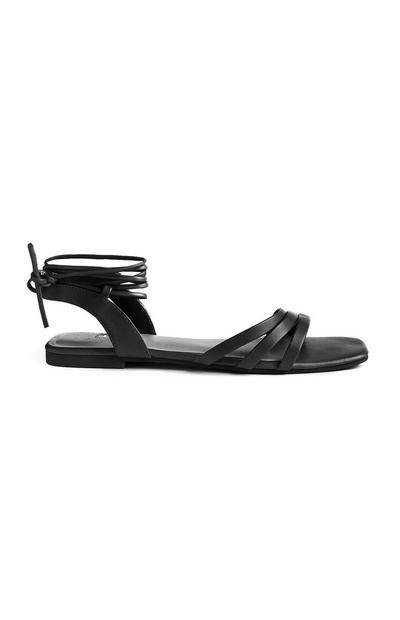 Black Square Toe Ankle Tie Sandals
