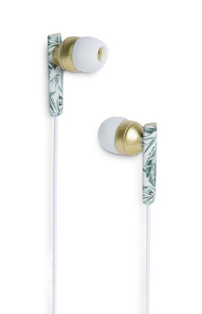 Green Leaf Print Earphones