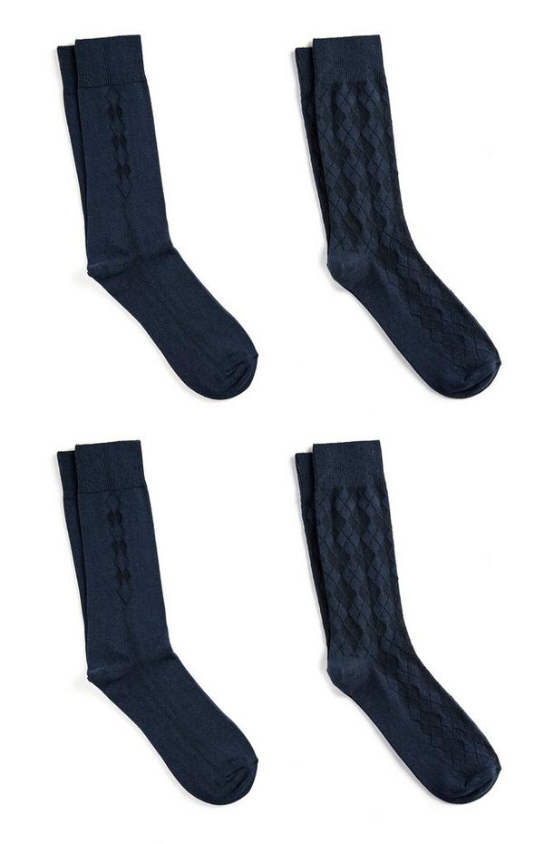 Navy Cotton Socks 4Pk