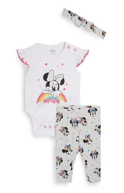 Conjunto 3 peças Minnie Mouse menina bebé