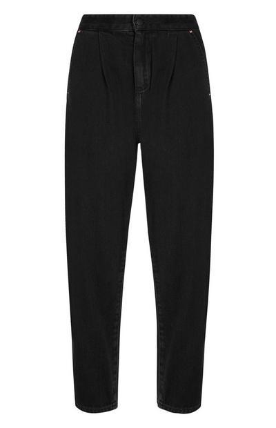 Jeans neri con gamba a palloncino