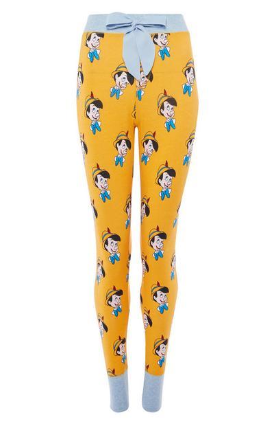 Leggings de pijama amarillos con estampado de Pinocho