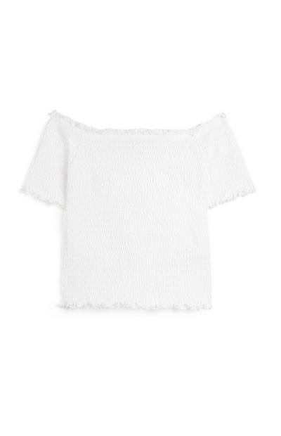Witte opgestroopte top in Bardot-stijl voor meisjes