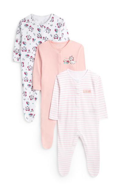Baby Girl Aristocats Marie Babygrow 3Pk