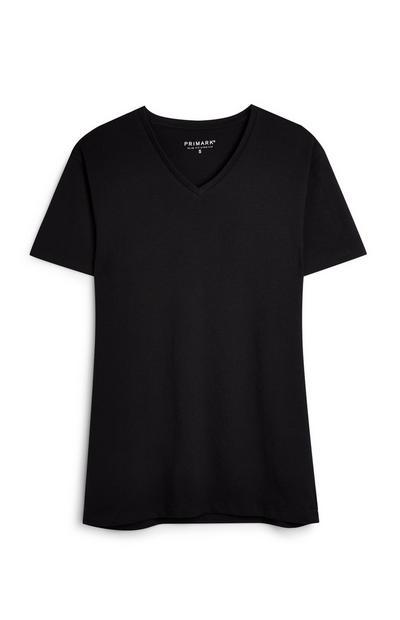 T-shirt noir à col en V et manches courtes