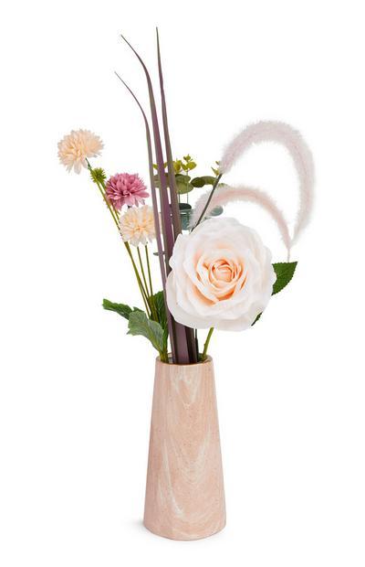 Pink Vase Faux Flower Arrangement
