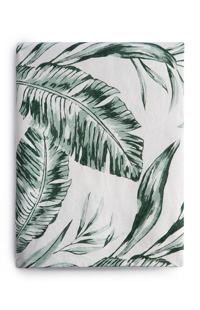 White And Green Leaf Print Table Cloth