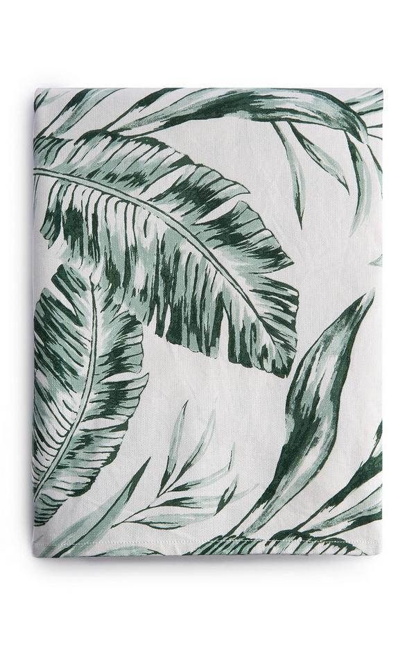 Mantel blanco y verde con estampado de hojas
