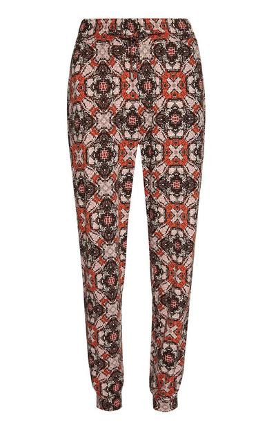Red Patterned Lightweight Joggers