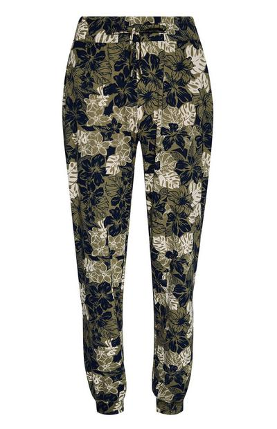 Green Patterned Lightweight Joggers