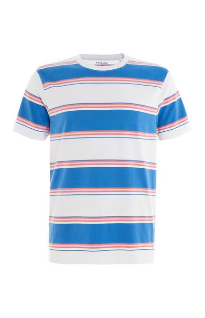 Blue Pink and White Striped T-Shirt