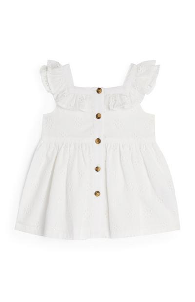 Baby Girl White Broiderie Button Up Dress