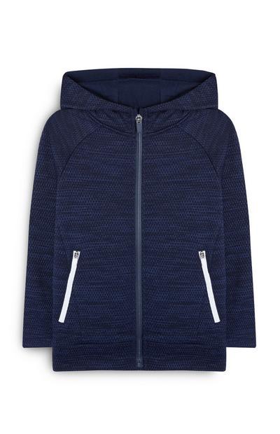 Sweat à capuche bleu marine zippé garçon