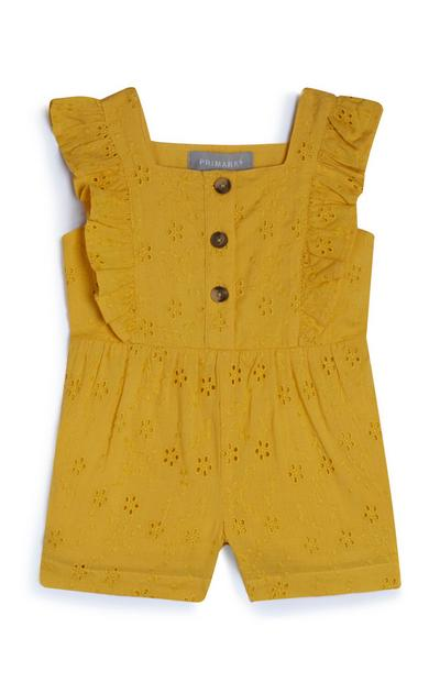 Baby Girl Mustard Embroidered Playsuit