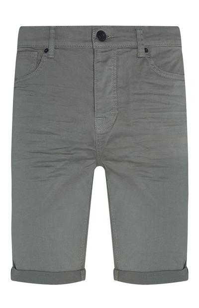 Olive Stretch Twill Shorts