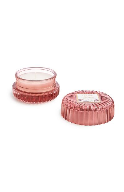 Pink Ribbed Glass Jar With Lid