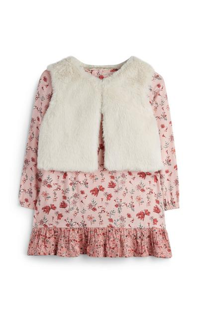 Baby Girl Floral Dress With Faux Fur Vest
