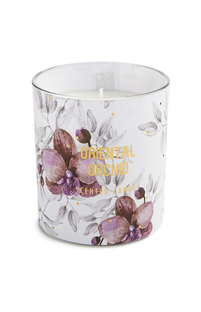 Oriental Orchid Print Single Candle