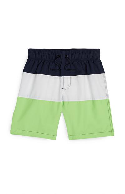 Older Boy Green Color Block Swim Shorts