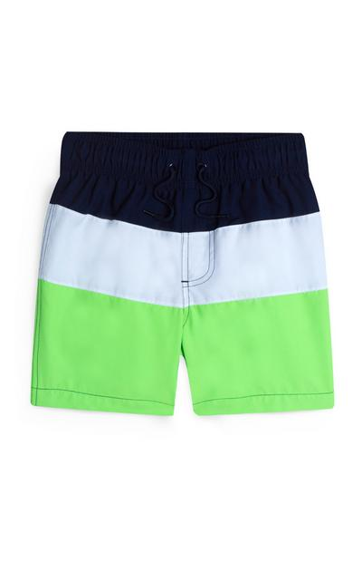 Short de bain vert citron color block garçon