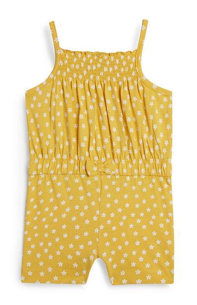 Combi-short jaune à fleurs et bretelles bébé fille
