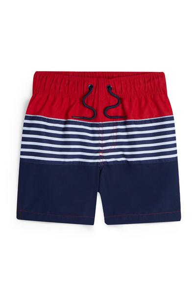 Younger Boy Red And Navy Striped Swim Shorts