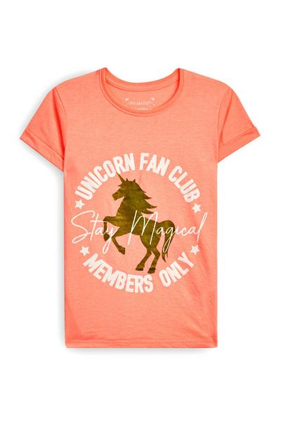 T-shirt Unicorn Fan Club rapariga laranja